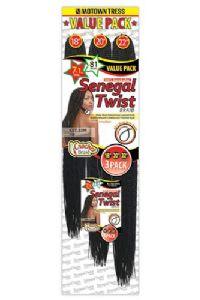 Motown Tress Synthetic Senegal Twist CST.Mega22M Interlocking Crochet Braids Multi Pack 18/20/22in
